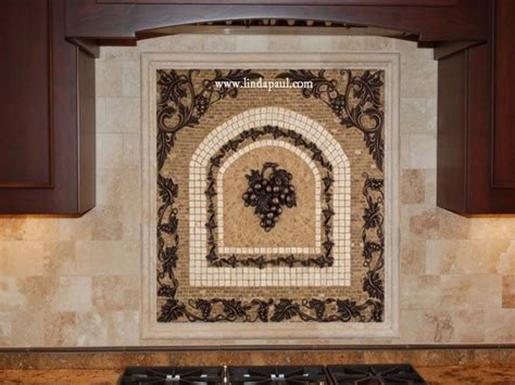 Tile Medallions For Kitchen Backsplash Grapes Mosaic Tile Medallion Kitchen Backsplash Mural Mosaics Ideas