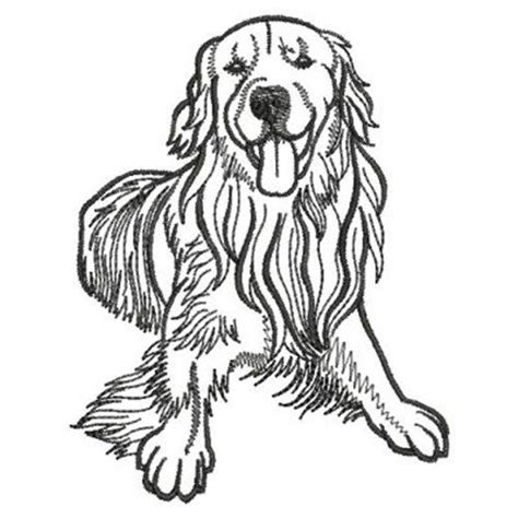 Golden Retriever Sitting Outline by Embroidery Design And Dogs On