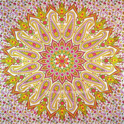 colorful tapestry colorful paisley medallion circle mandala cotton tapestry