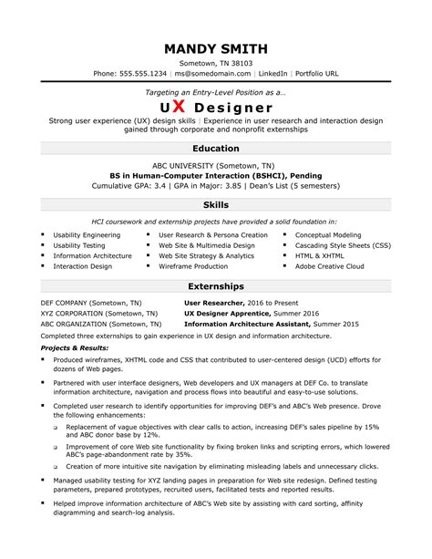 ux resume template sle resume for an entry level ux designer