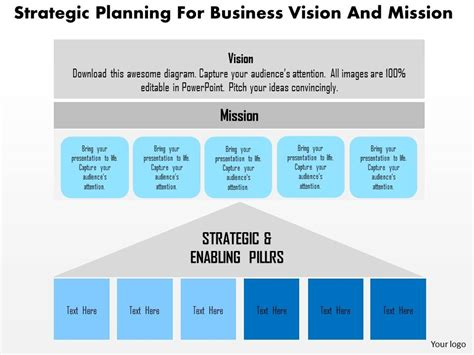 Strategic Planning For Business Vision And Mission Flat Powerpoint Design Powerpoint Strategic Pillars Template