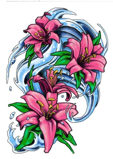 japanese lily tattoo designs water lilies by milkshakepunch on deviantart