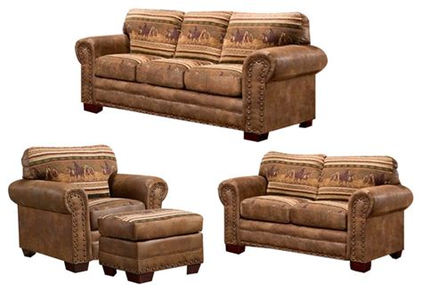 rustic living room sets wild horses 4 piece set with sleeper rustic living