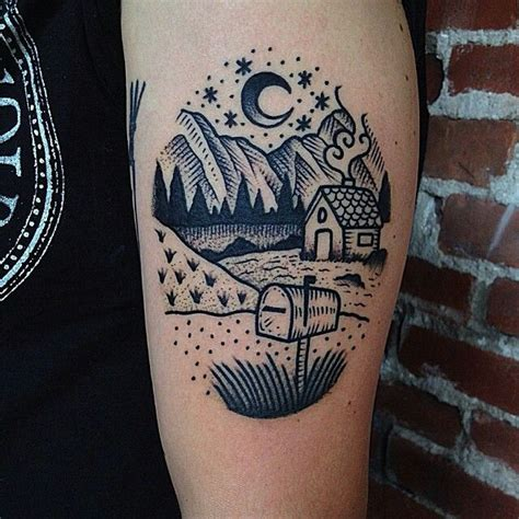 tattoo nightmares guests linework house mountains landscape tattoo by christian