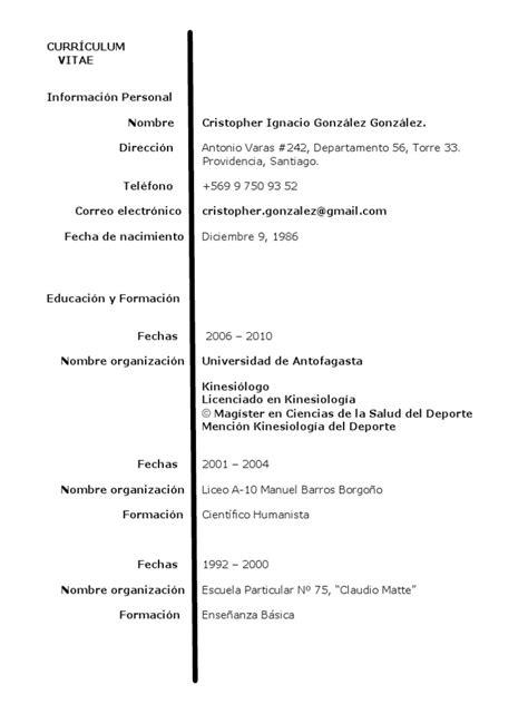 Modelo Curriculum Kinesiologo modelo de curriculum vitae kinesiologo modelo de