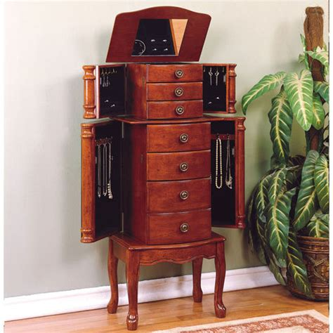 powell classic cherry jewelry armoire cabinet organizers jewelry armoire with 5 drawers
