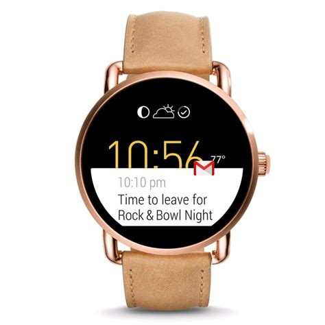Gossil Rantai Rosegold Cover Black fossil q wander smartwatch 45mm gold light
