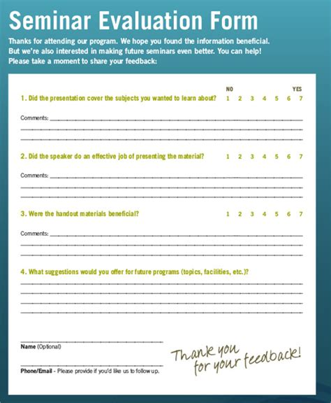 seminar evaluation form template sle seminar feedback form 8 exles in word pdf