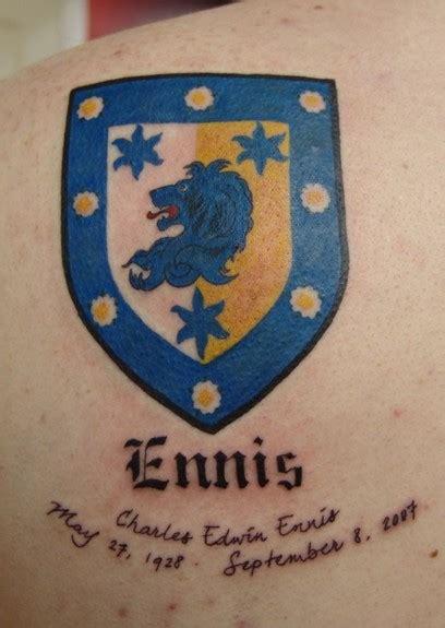 tattoo parlour ennis ennis family crest tattoo by blaze schwaller tattoonow