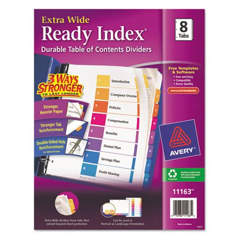 Avery Ready Index Template 8 Tab by Avery Wide Ready Index Table Of Contents Dividers
