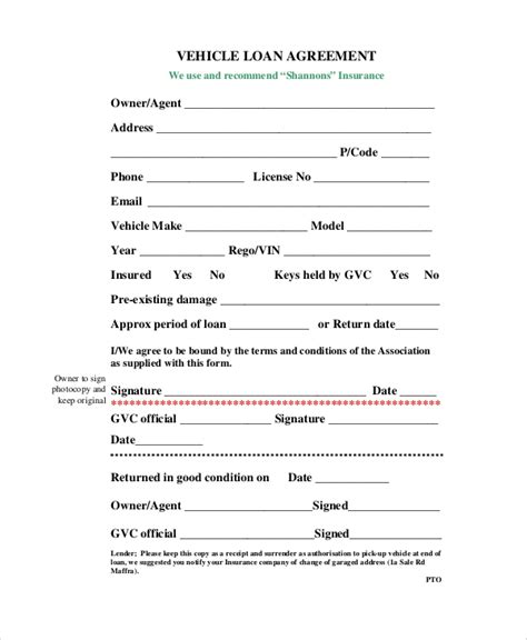 10 Sle Loan Agreement Forms Sle Templates Car Loan Agreement Template