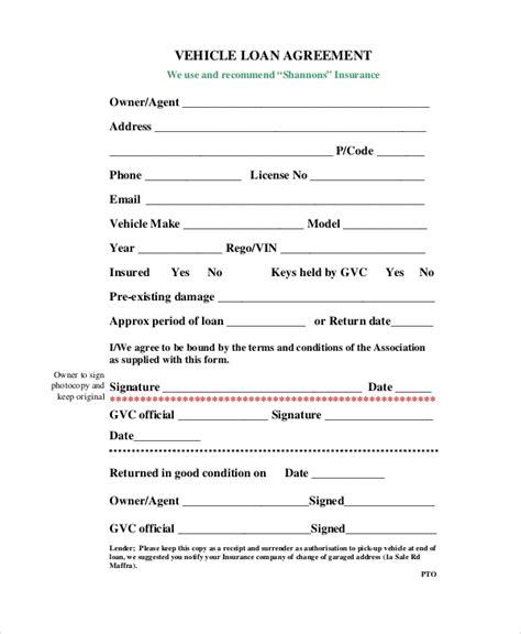 10 Sle Loan Agreement Forms Sle Templates Auto Loan Template Free