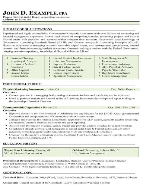 accounting resume template robert half