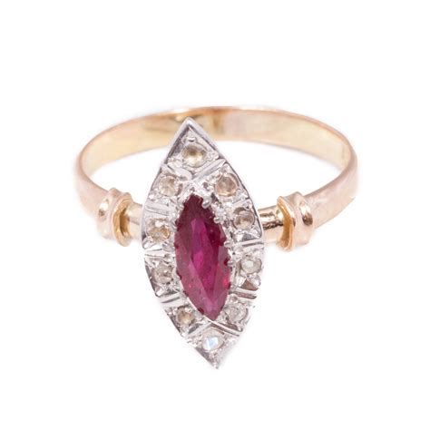 antique ruby ring in 15ct gold antique