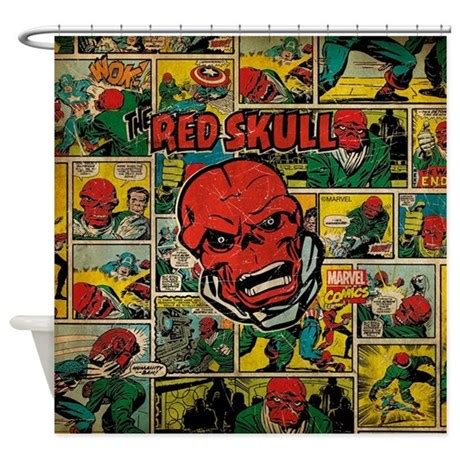 marvel shower curtain marvel comics red skull retro shower curtain by marvelcomics
