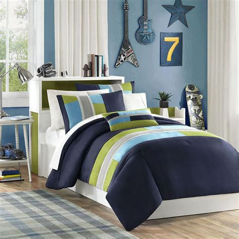 teen boys comforter sets modern teal blue white nautical coast shore stripe quilt