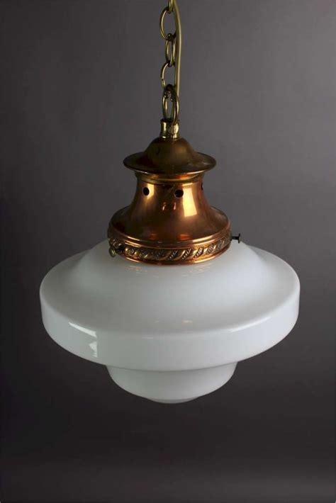 Edwardian Pendant Light Copper Fitting With Milk Shade Edwardian Pendant Light