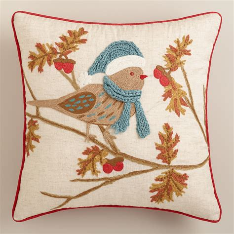 winter bird embroidered throw pillow world market