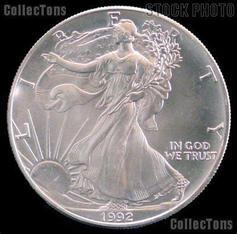 1 Oz Silver Dollar Worth - 1992 american silver eagle dollar bu 1oz silver