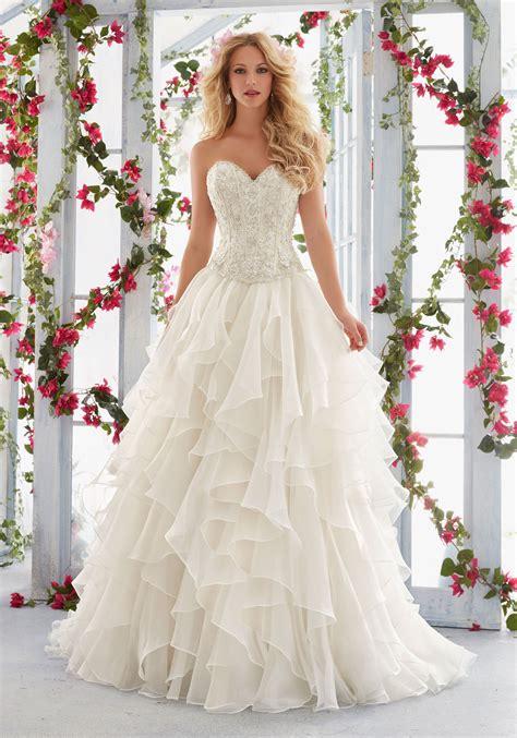 wedding dresses skirt flounced organza skirt style 6823 morilee
