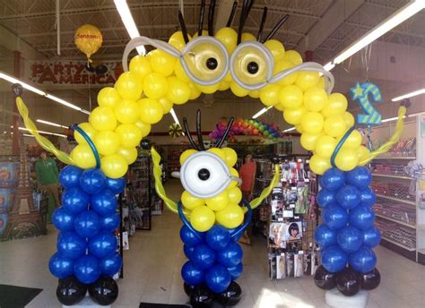 Balloon arch minion balloons and columns on pinterest