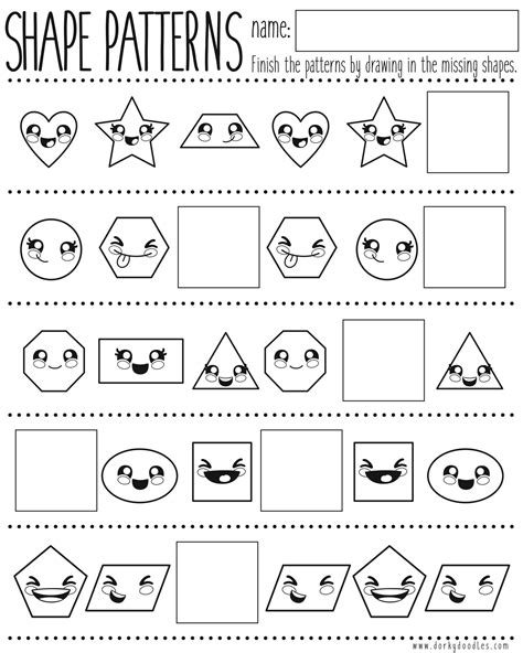 shape pattern practice worksheet shapes and pattern practice printable worksheet dorky