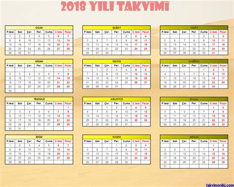 2018 Yili Takvimi 2018 Yılı Takvimi Takvim On Iki