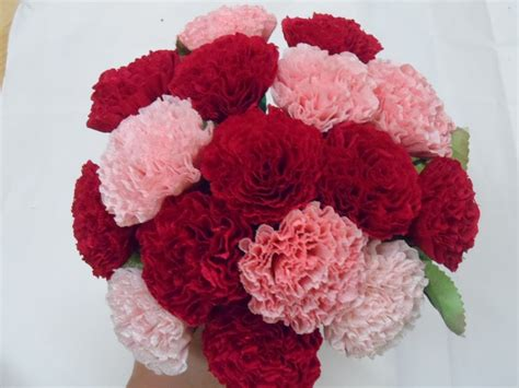How To Make Tissue Paper Carnations - paper flower 종이꽃 4 주름지 카네이션 how to make crepe paper