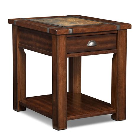 furniture accent tables slate ridge end table cherry american signature furniture
