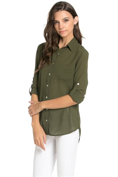 S Chiffon Button Blouse by Roll Up Sleeve Button Olive Chiffon Blouse My Yuccie
