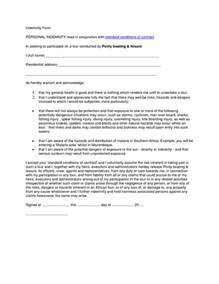 indemnity form template indemnity form personal indemnity read in conjunction with