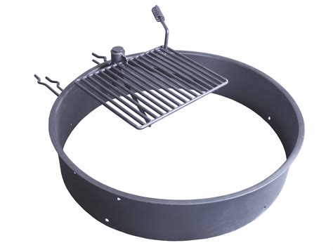 36 Quot Steel Fire Ring With Cooking Grate Cfire Pit Park Pit Ring With Grill