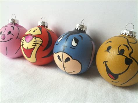 winnie the pooh painted holiday ornament set of four
