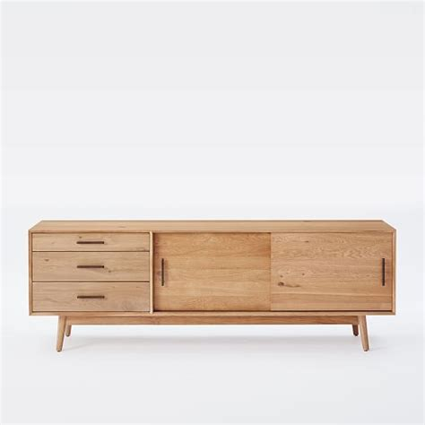 oak media console mid century media console 80 quot oak west elm
