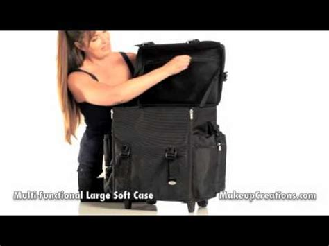 Hair Stylist Travel On Wheels by Makeup Cases Professional Large Black Soft Rolling