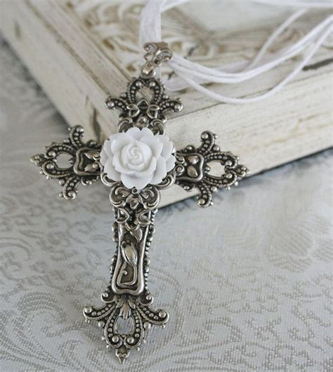 cross tattoo with jewels trust in the lord victorian style ornate by