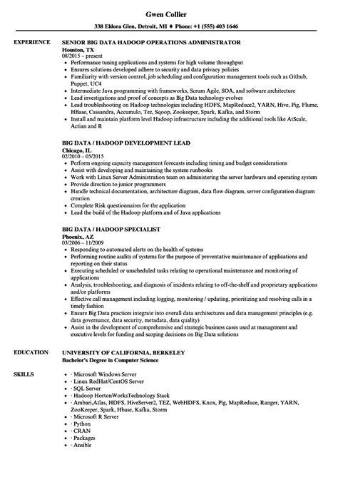 big data hadoop resume sles velvet