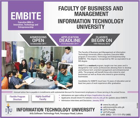 Tech Evening Mba Application Deadlines by Information Technology Itu Lahore Admission