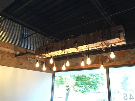 rustic beam light fixture barn wood beam rustic industrial chandelier id lights