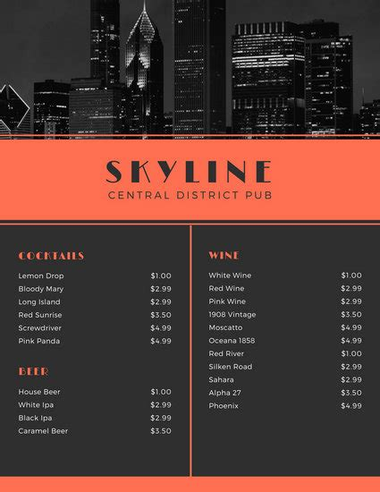 Customize 246 Bar Menu Templates Online Canva Pub Menu Template