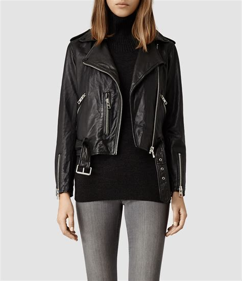 allsaints balfern leather biker jacket in black lyst