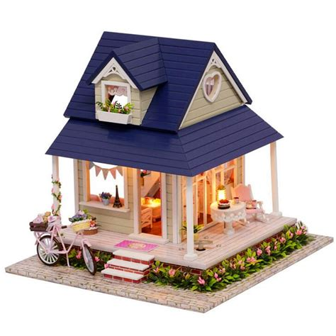 hoomeda diy wood dollhouse miniature  ledfurniture