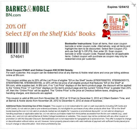 On The Shelf Discount Code by Barnes And Noble 20 On The Shelf Books Printable