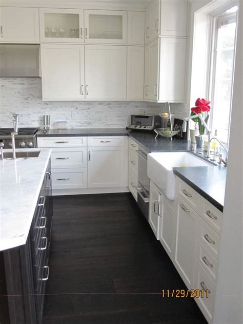 White Kitchen Cabinets With Black Granite White Cabinets With Black Granite Black Cabinet Marble Counter Gray Tile Backsplash Kitchen