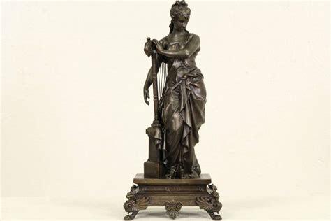 Statue Pedestals harpist statue 1870 antique sculpture on pedestal ebay