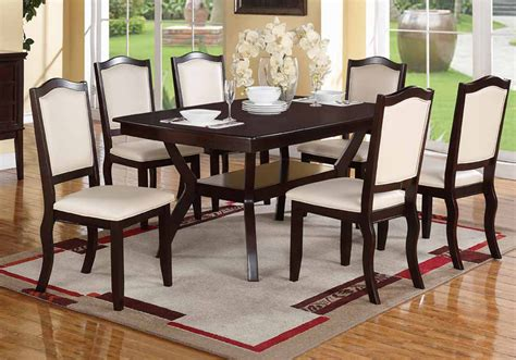 wood 7 pieces dining set table and chairs espresso