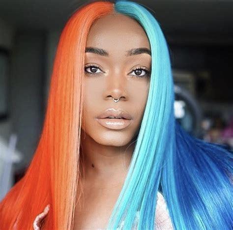 half colored hair tsrissalook half and half colored hair the shade room