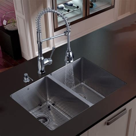 Modern Undermount Kitchen Sinks Vigo Platinum Equal Undermount Stainless Steel Kitchen Sink Set Modern Kitchen Sinks