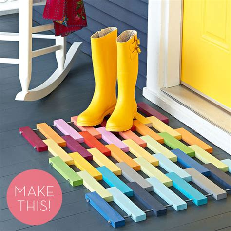 Colorful Doormats how to make a colorful diy wooden slat door mat 187 curbly diy design decor