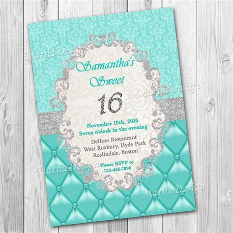 printable invitations for quinceanera sweet 16 invitation sweet sixteen invitation turquoise